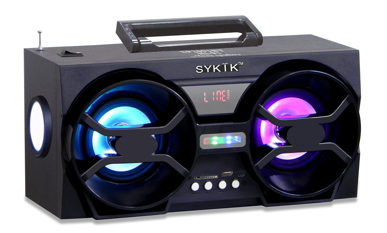 Sykik SP2091BT, Bluetooth Boombox with SD/MMC/USB, FM radio, bui
