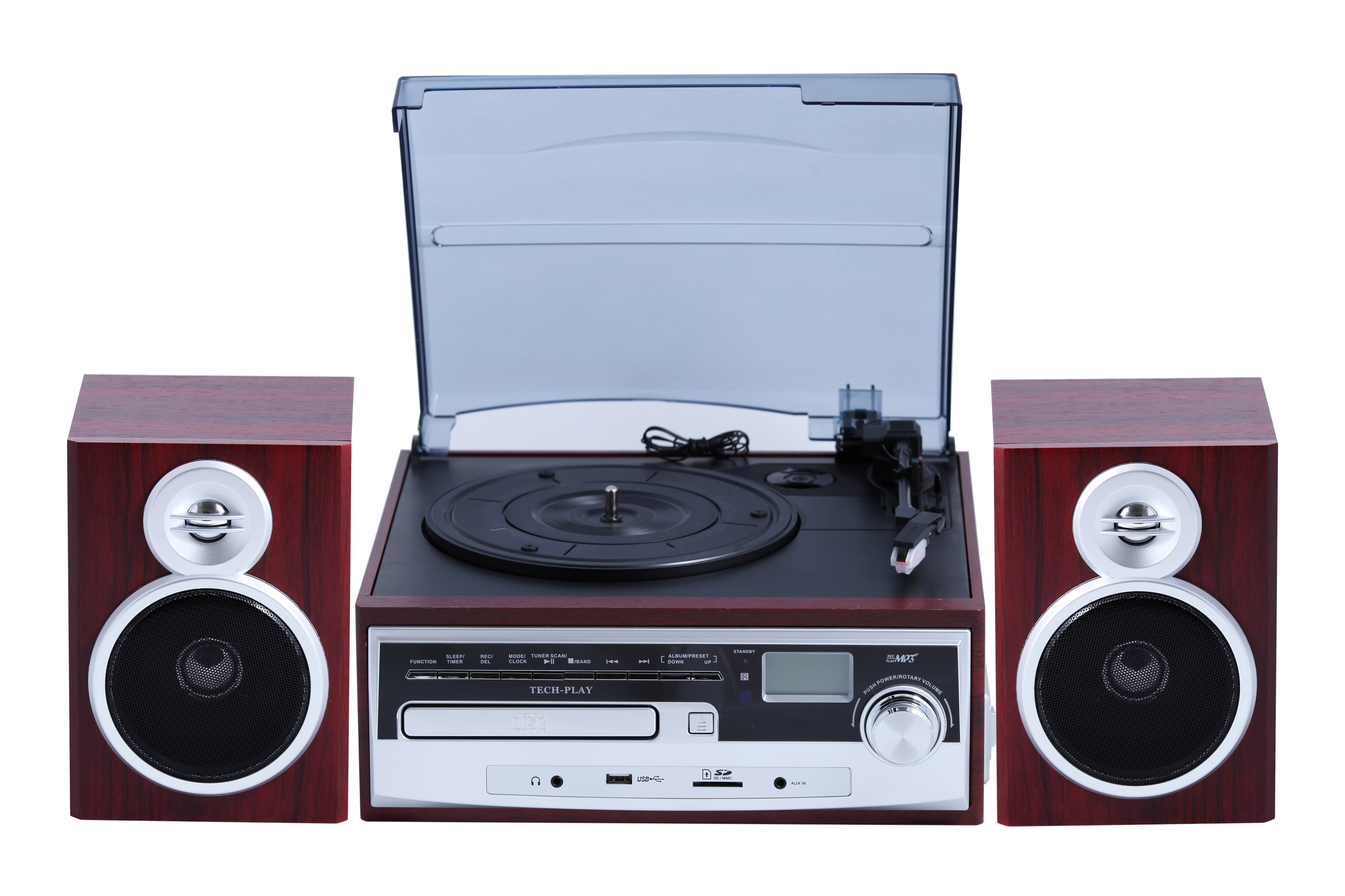 TechPlay ODC28SPK-WD 3-Speed Retro Classic Turntable with CD / M