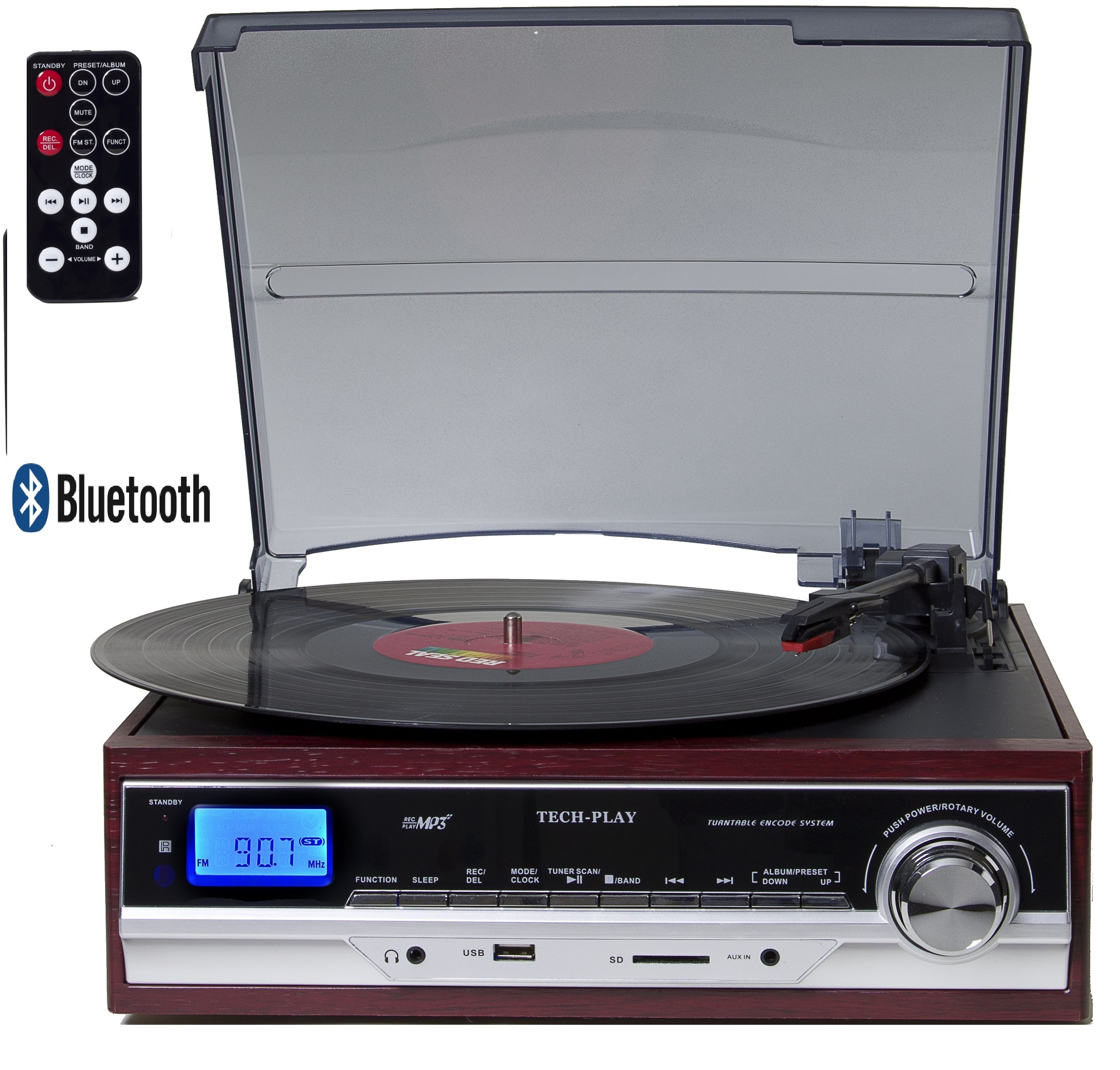TechPlay ODC17BT, 3-Speed Turntable player W/ Bluetooth, SD USB,