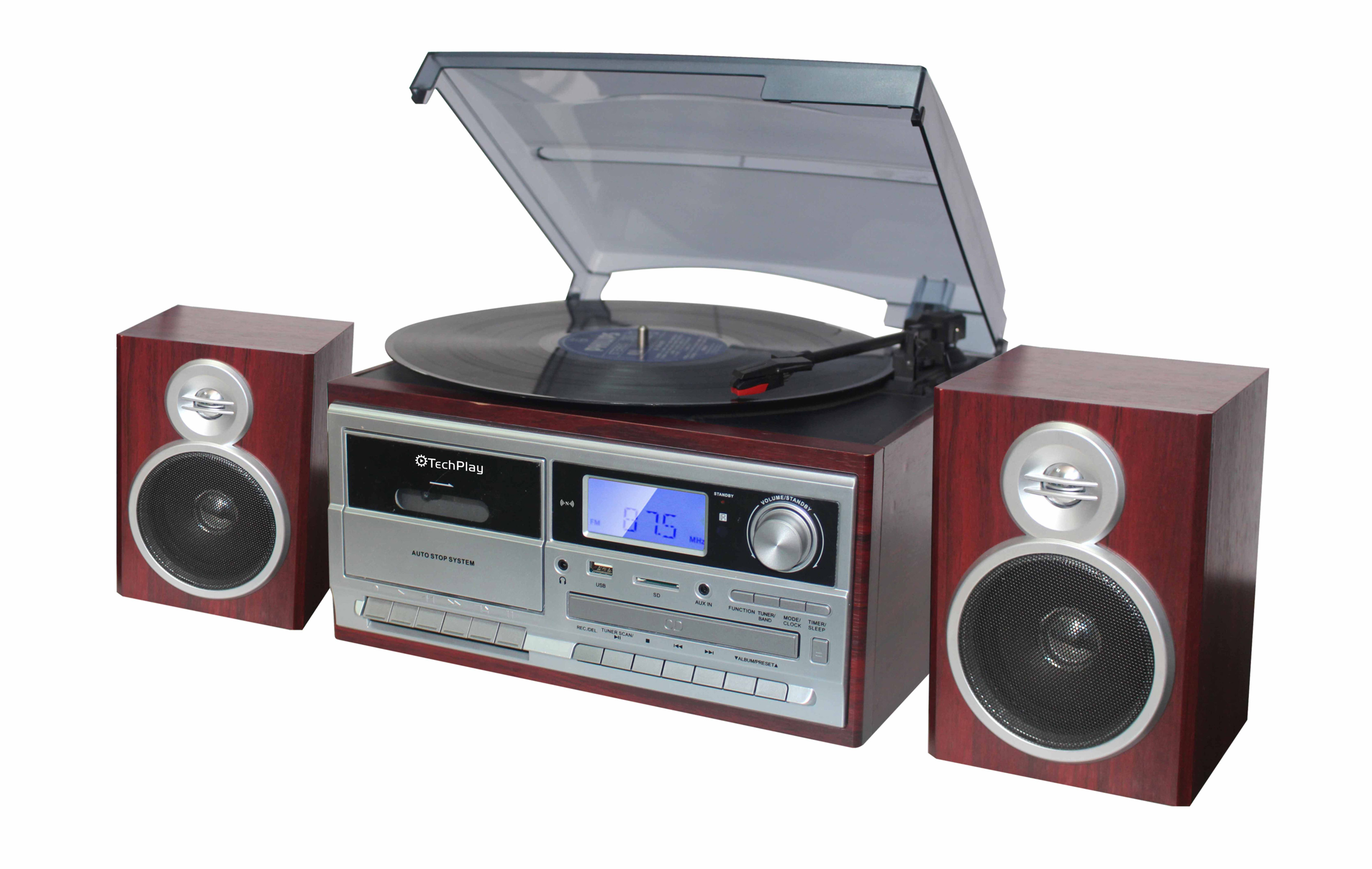 TechPlay ODC128BT 3-Speed Turntable with Cassette player/recorde