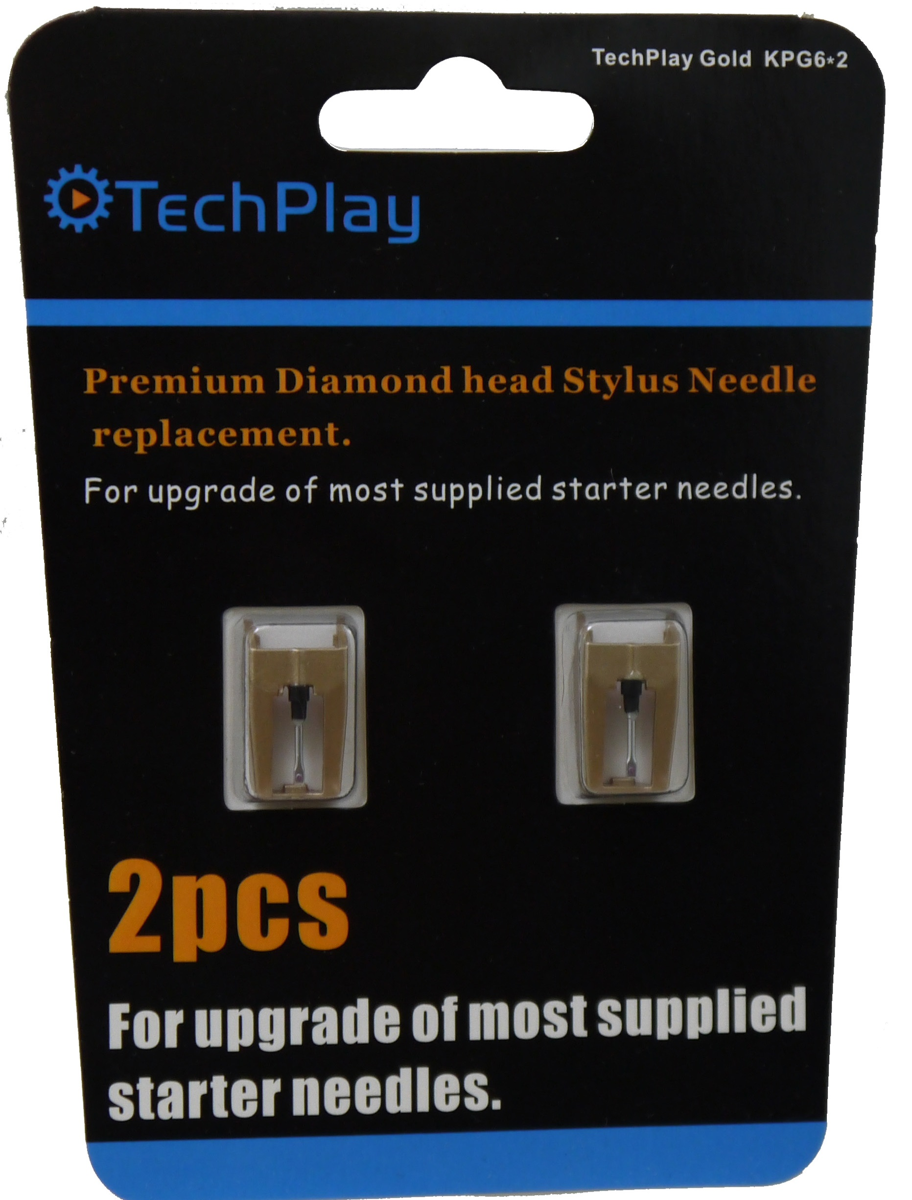TechPlay Gold, KPG6*2,pack of 2, Dimond tipped needle for Turnta