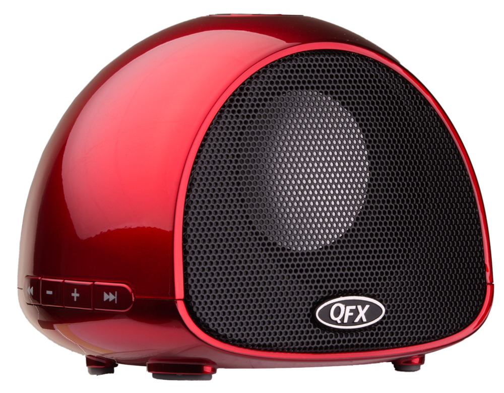 QFX BT-100RD BLUETOOTH SPEAKER WITH MICROPHONE, RED