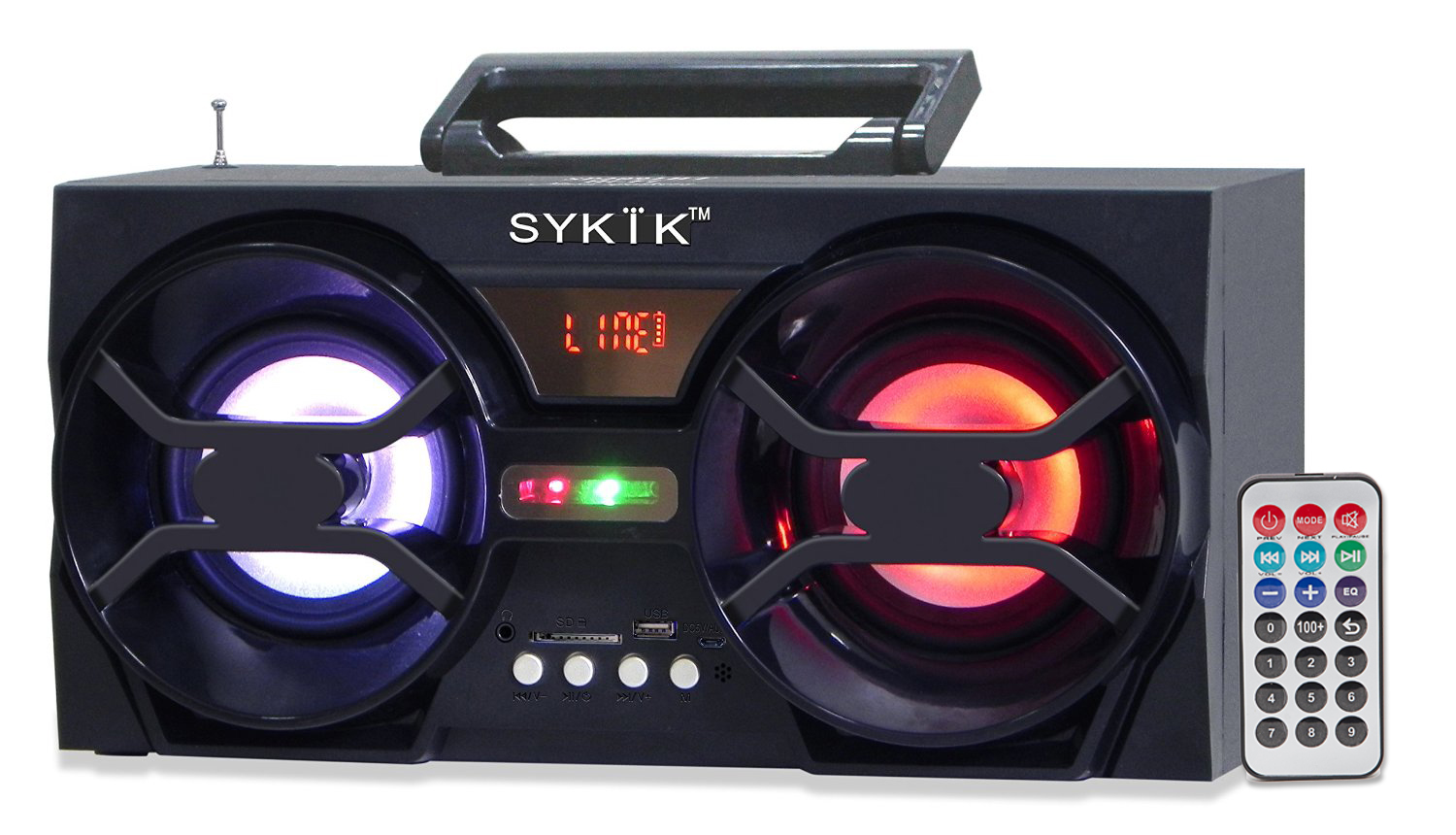 Sykik SP2091BT RB, Bluetooth Boombox with SD/MMC/USB, FM radio
