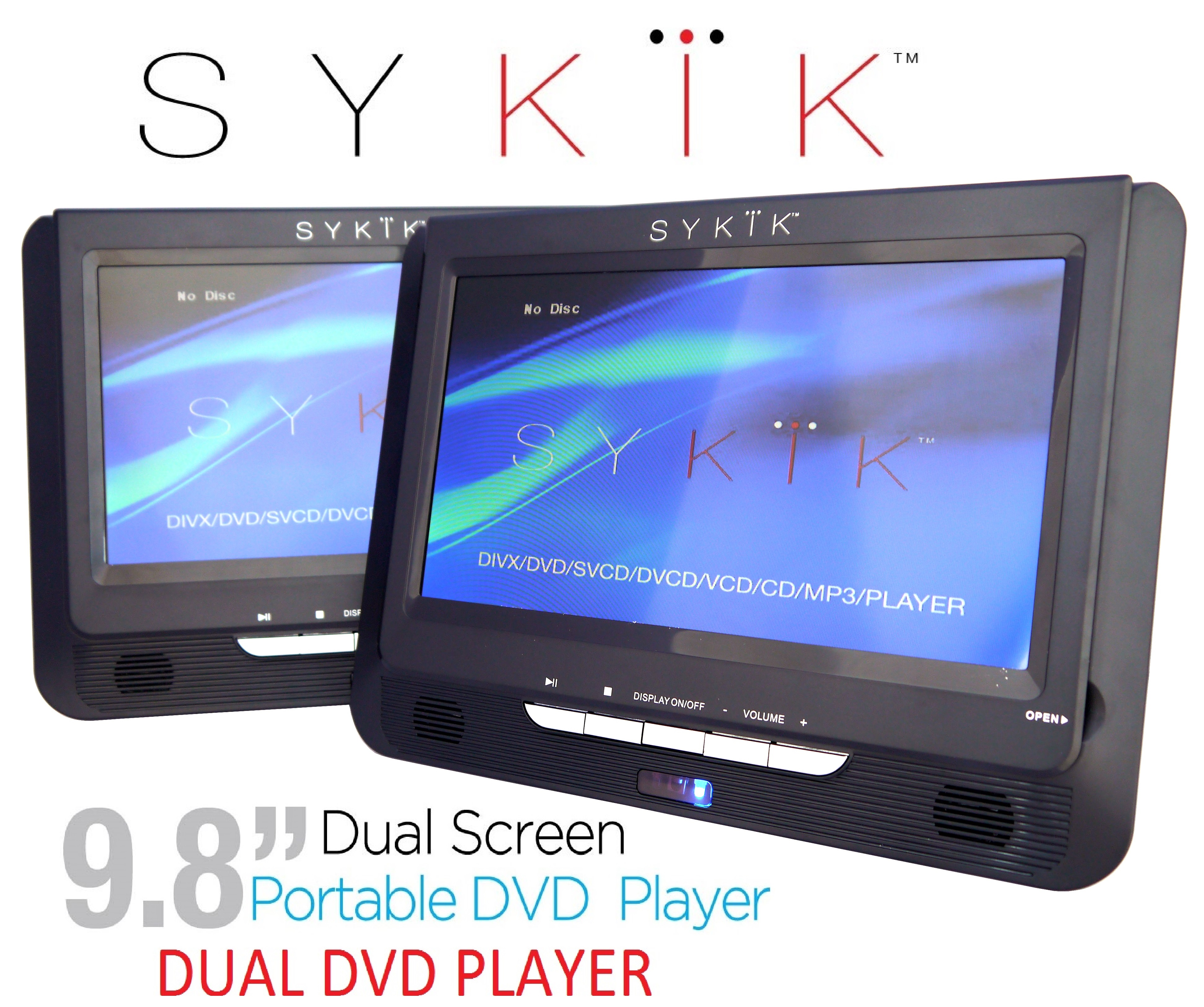 "Sykik 9.8"" Dual screen, dual DVD player. Both W/ built-in rechar"