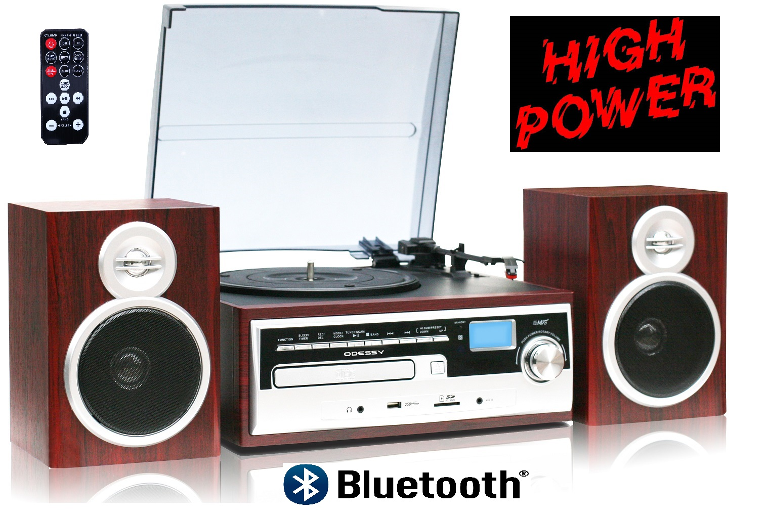 ODC38WD RB, High Power 50W, 3 Speed classic Retro Turntable, Blu