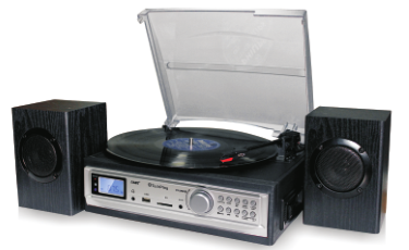 TechPlay ODC194 BK, 3-Speed Turntable & Cassett player W/SD USB,